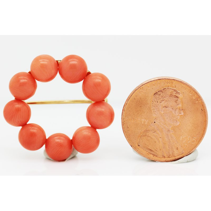 Estate Jewelry Coral Brooch