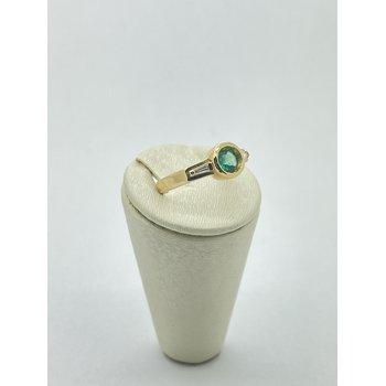 Round Emerald and Diamond Ring
