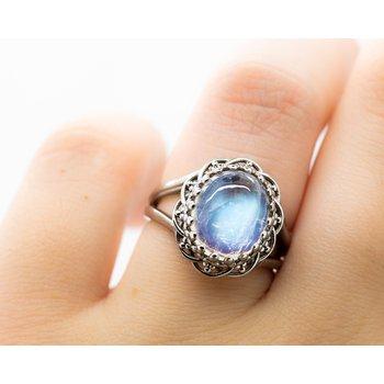 Oval Moonstone 14k White Gold Ring