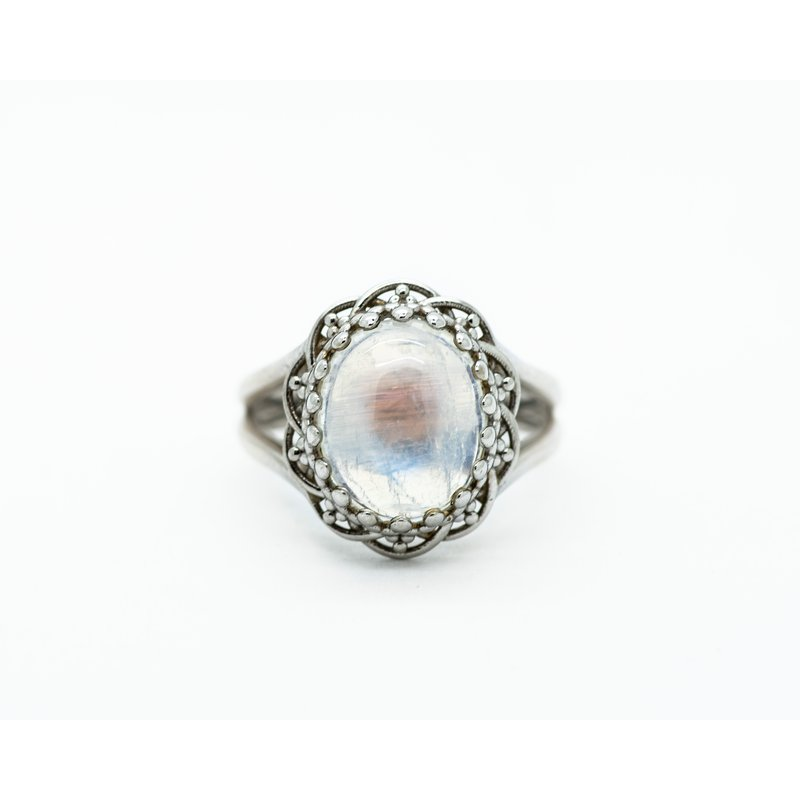 Jewelry Couture Exclusives Oval Moonstone 14k White Gold Ring