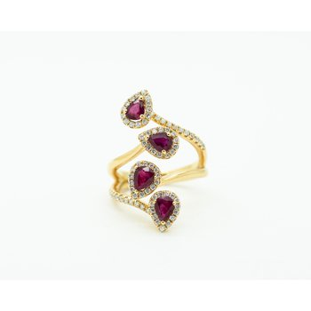 Climbing Multi-Stone Ruby and Diamond Ring