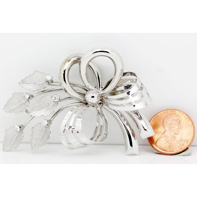 Estate Jewelry Flower Bow Brooch