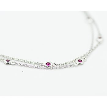 Double Strand Bezel Set Ruby Bracelet