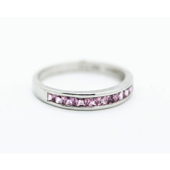 Pink Sapphire Inlay Stacking Band