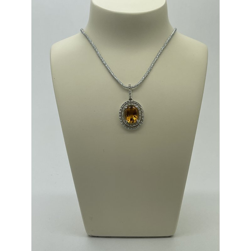 Jewelry Couture Exclusives Diamond and Citrine Pendant