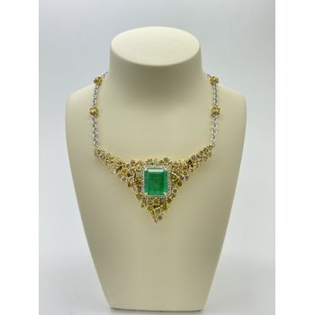 Emerald and Diamond Two Tone Pendant Necklace
