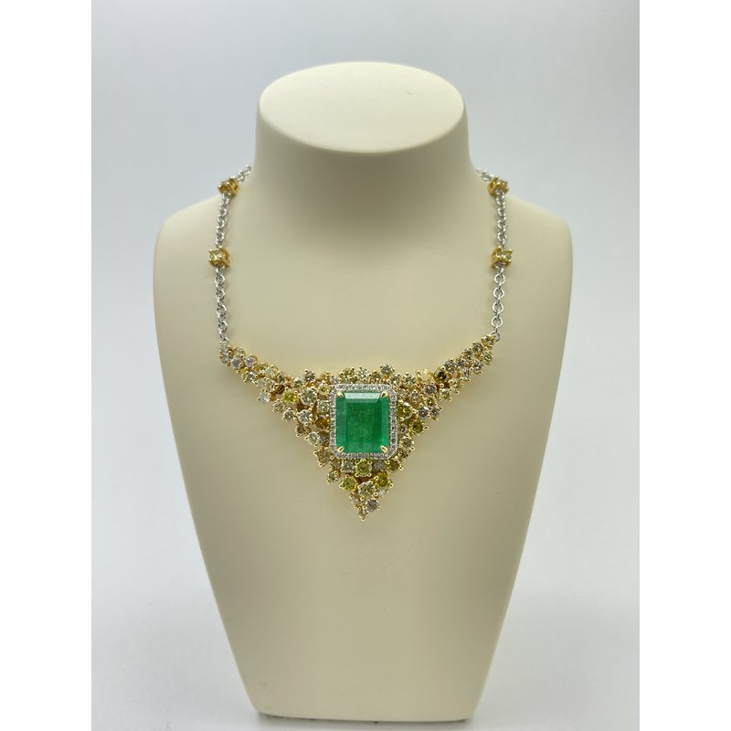 Jewelry Couture Exclusives Emerald and Diamond Two Tone Pendant Necklace