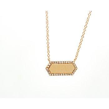 Rose Gold Diamond Bar Necklace
