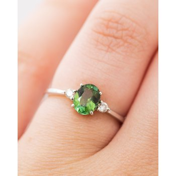 Green Tourmaline Birthstone Ring
