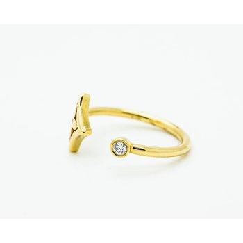 18k Yellow Gold Diamond Star Ring