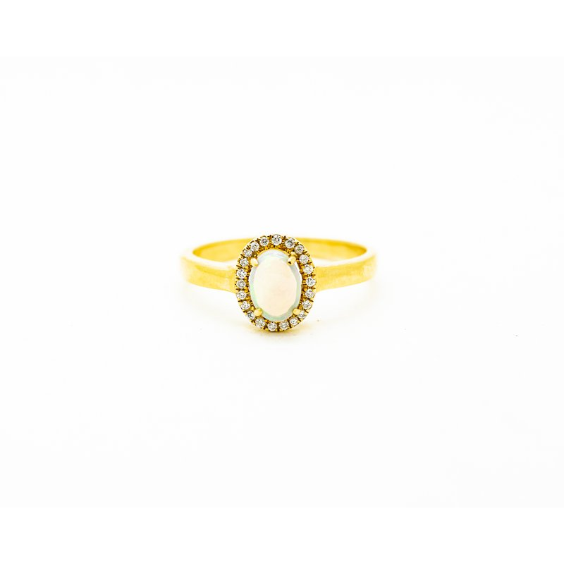 Jewelry Couture Exclusives Yellow Gold Halo Opal Ring