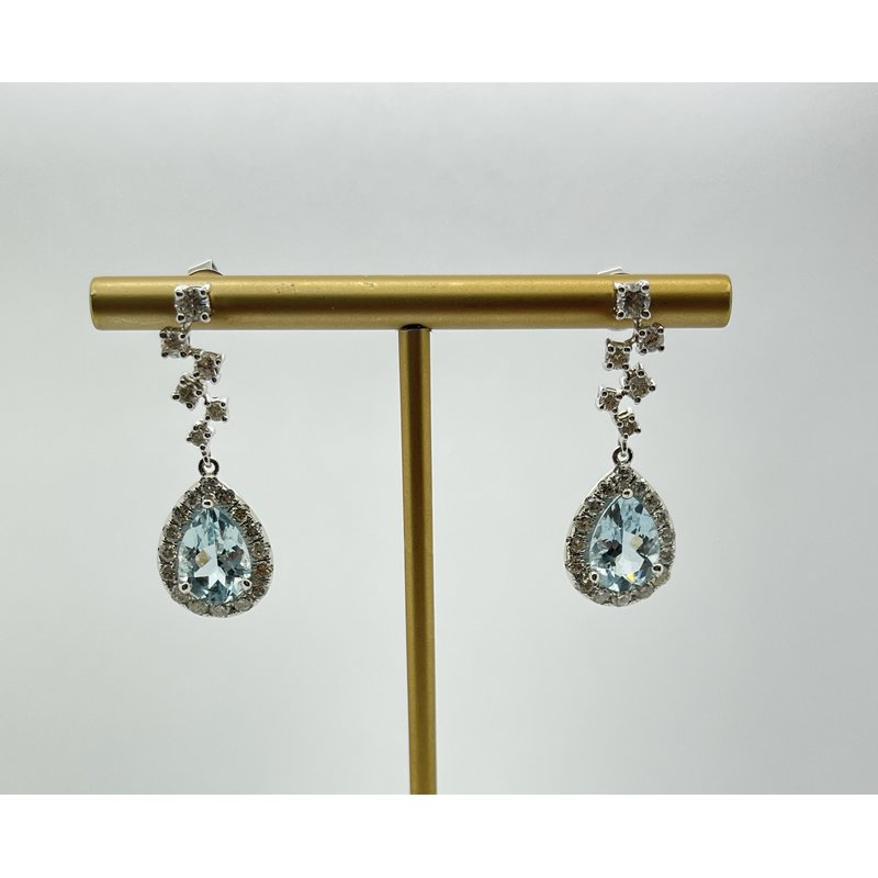 Jewelry Couture Exclusives Aquamarine and Diamond Earrings