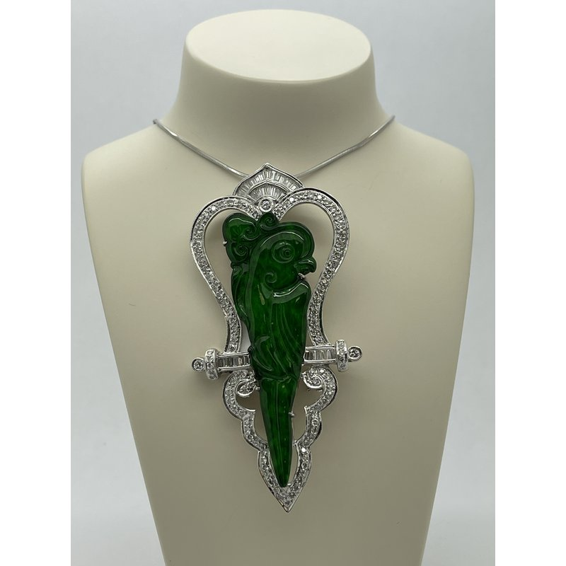 Jewelry Couture Exclusives Jade and Diamond Parrot Broach