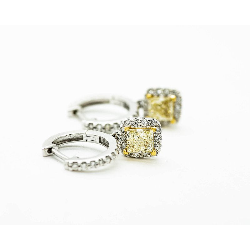 Jewelry Couture Exclusives Cushion Cut Yellow Diamond Earrings