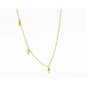 Beaded Charm 14k Yellow Gold Necklace