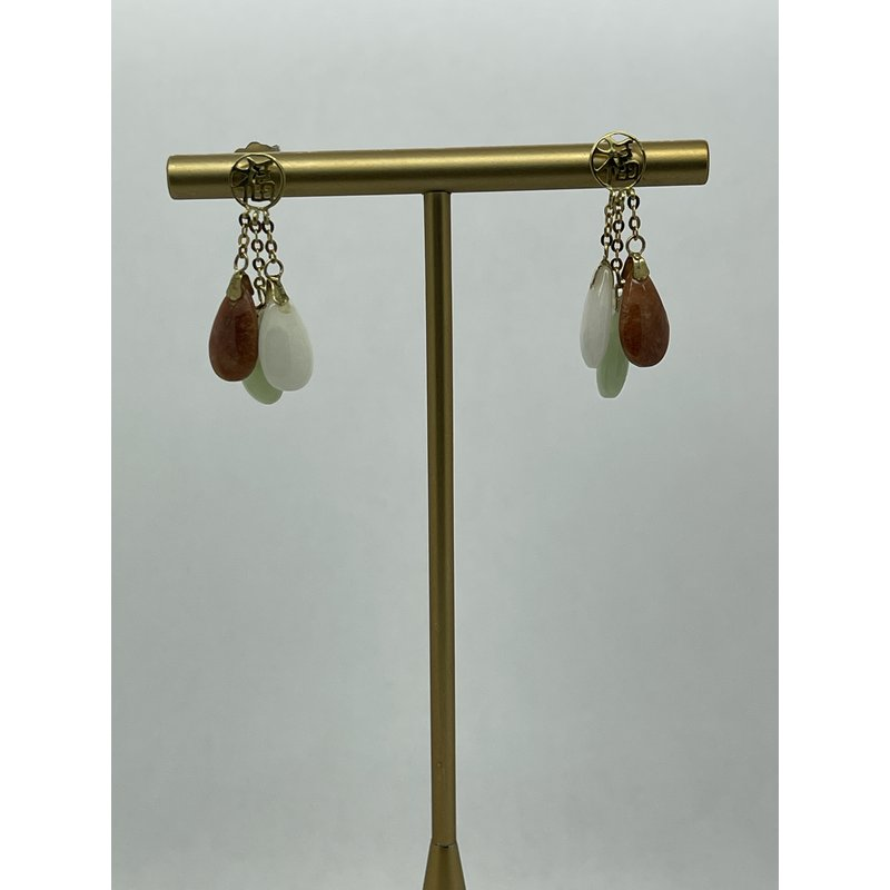 Jewelry Couture Exclusives Jade Tri-Color Earrings