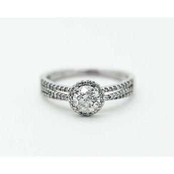 Round Halo Tri-Band Engagement Ring