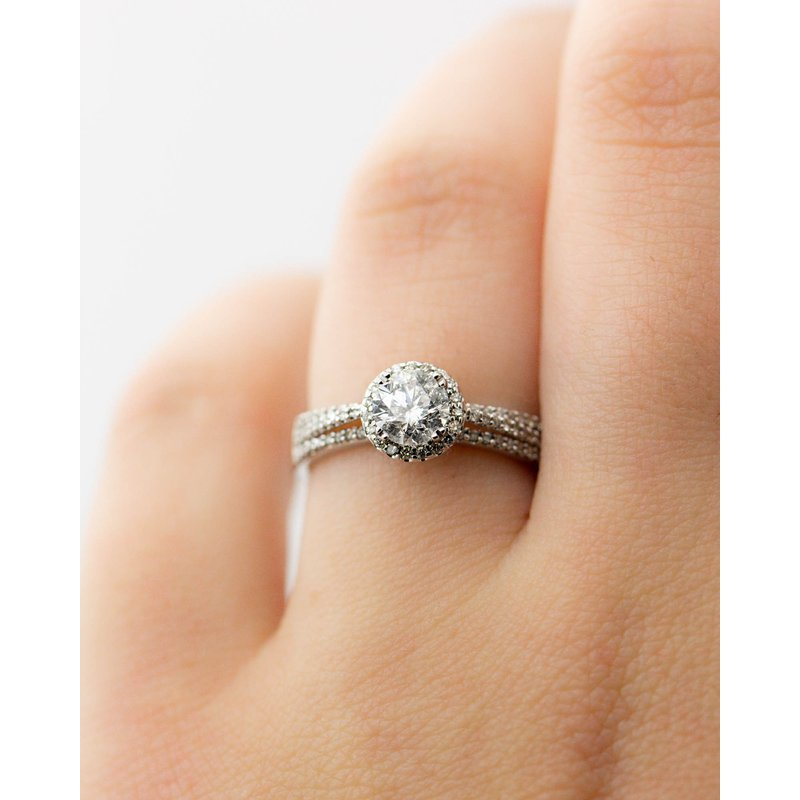 Jewelry Couture Exclusives Round Halo Tri-Band Engagement Ring