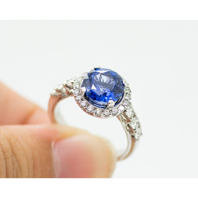 Jewelry Couture Exclusives Blue Sapphire Diamond Engagement Ring