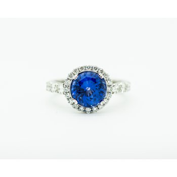 Blue Sapphire Diamond Engagement Ring