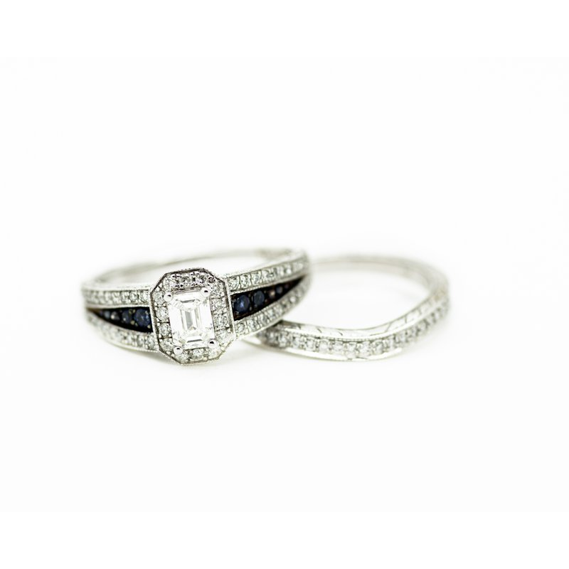 Jewelry Couture Exclusives Signet Style Emerald Cut Wedding Set