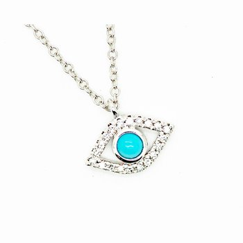 Delicate Turqouise and Diamond Evil Eye Necklace