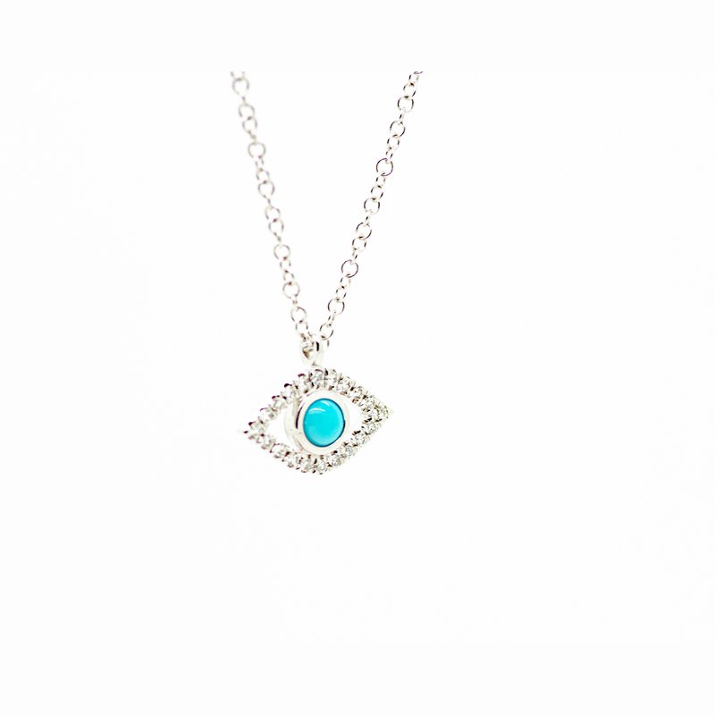 Jewelry Couture Exclusives Delicate Turqouise and Diamond Evil Eye Necklace