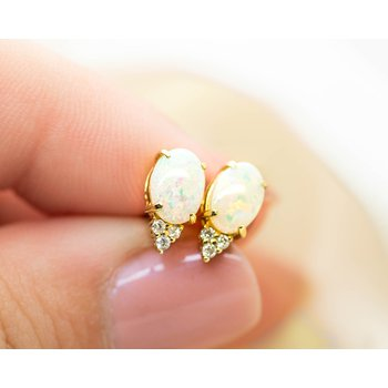 White Opal and Diamond Studs