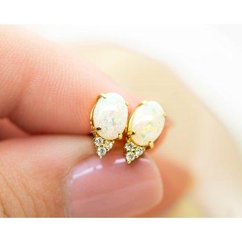 White Opal and Diamond Studs