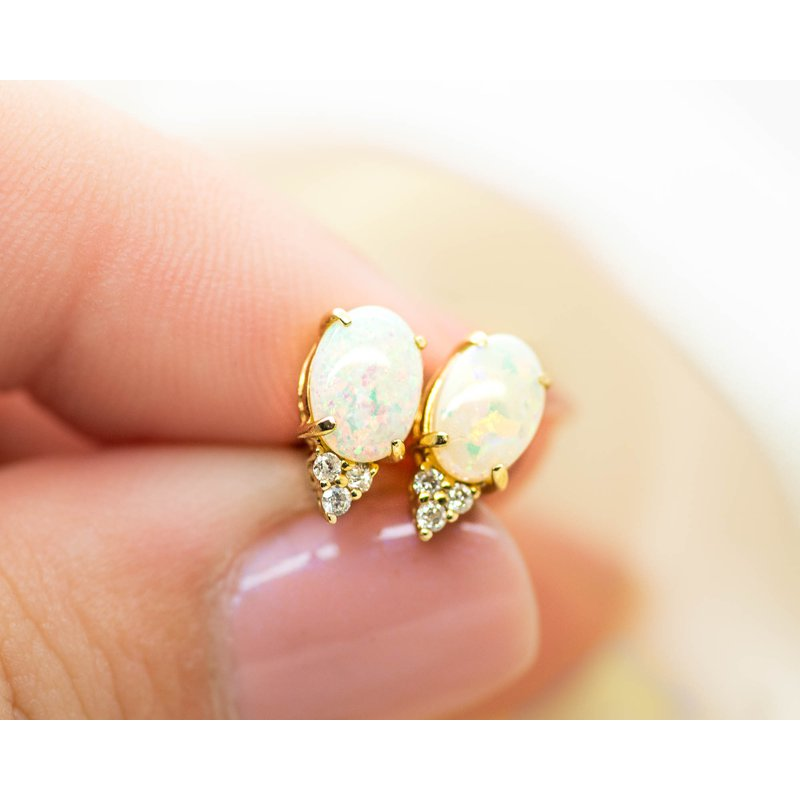 Jewelry Couture Exclusives White Opal and Diamond Studs