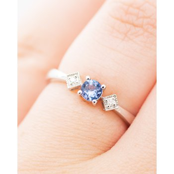 Vintage Style Tanzanite and Diamond Ring