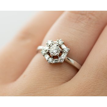 Hexagonal Halo Diamond Engagement Ring