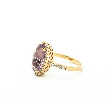 Oval Cut Amethyst Diamond Halo Ring