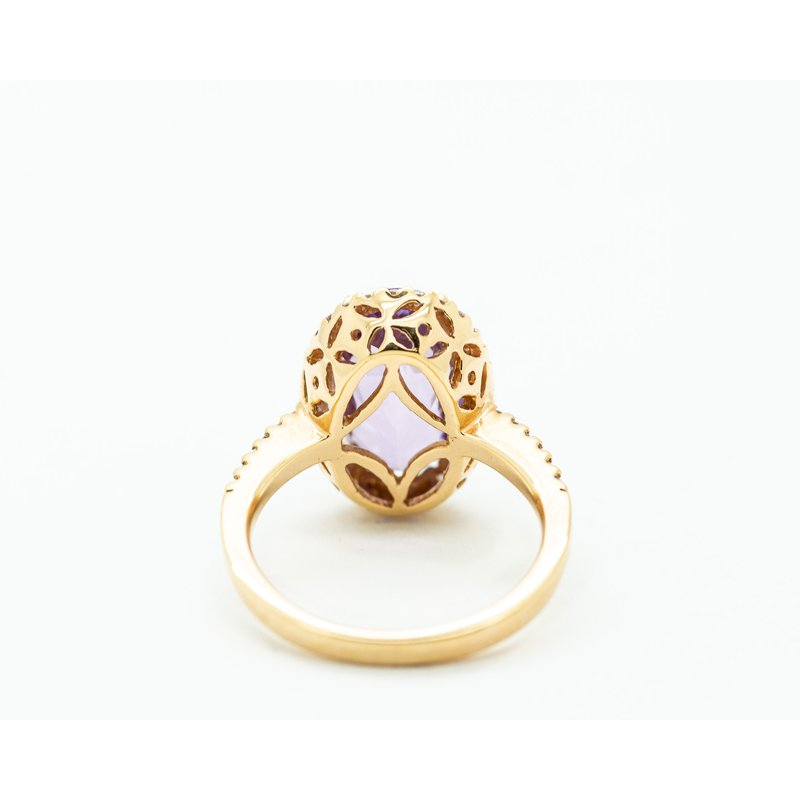 Jewelry Couture Exclusives Oval Cut Amethyst Diamond Halo Ring