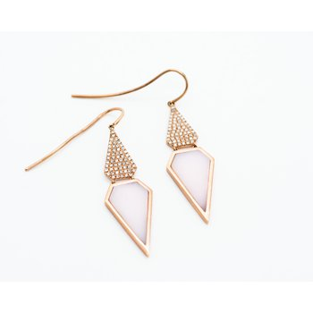 Geometric Rose Quartz Diamond Drop Earrings