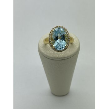 Blue Topaz Ring with Diamond Halo