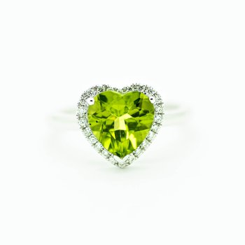 Heart Peridot 14k White Gold Ring