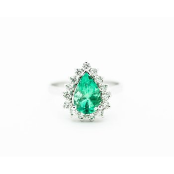 Pear Cut Emerald and Diamond Engagement Ring