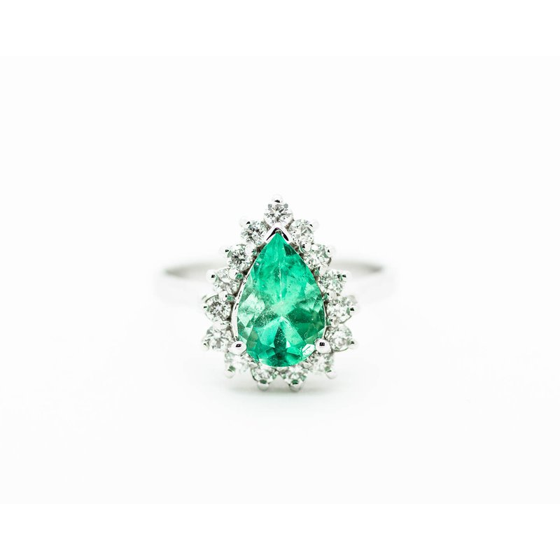 Jewelry Couture Exclusives Pear Cut Emerald and Diamond Engagement Ring