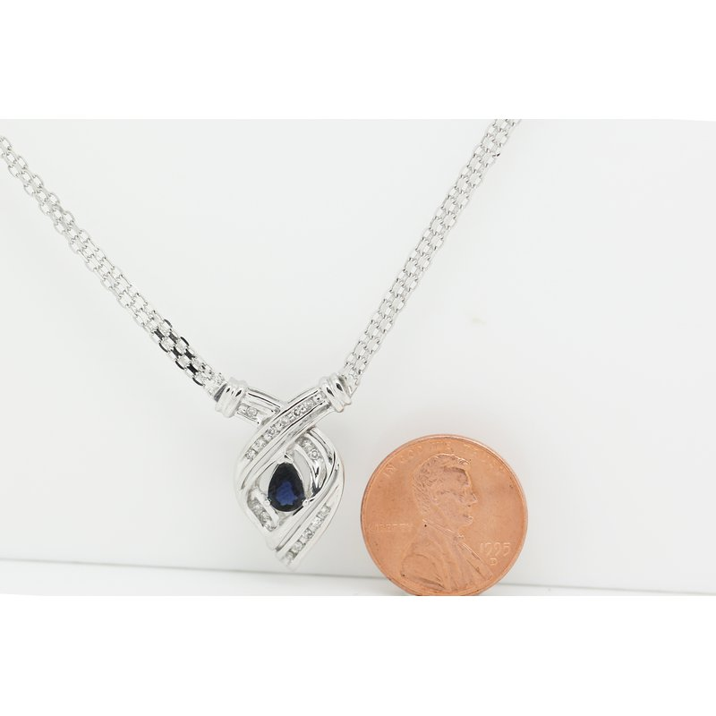 Estate Jewelry White Gold and Sapphire Necklace