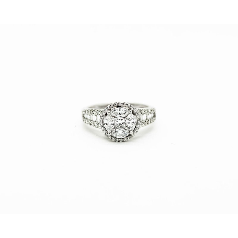 Jewelry Couture Exclusives Cluster Signet Style Engagement Ring