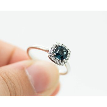 London Blue Topaz Diamond Halo Ring