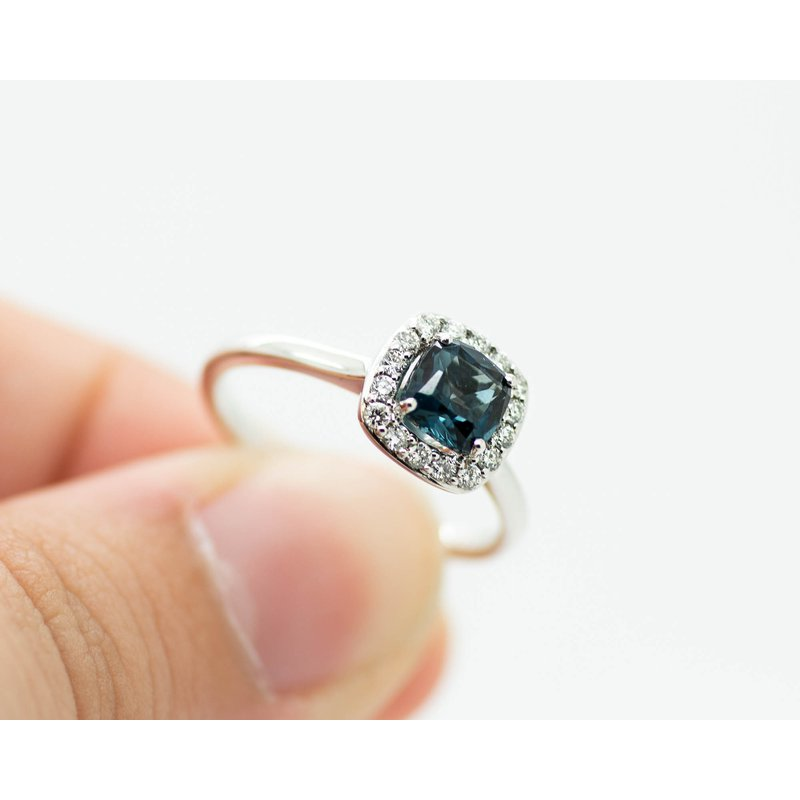 Jewelry Couture Exclusives London Blue Topaz Diamond Halo Ring
