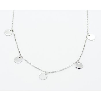 "Asymmetric white Gold Disc 16"" Necklace"