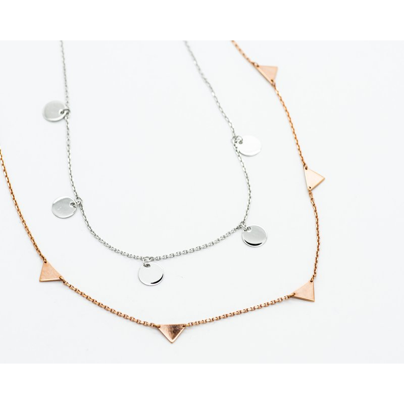 """Jewelry Couture Exclusives Asymmetric white Gold Disc 16"""" Necklace"""