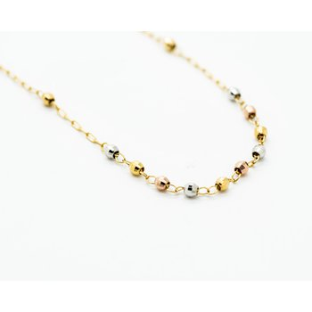 Beaded Cross Tri-tone 14k Gold Necklace