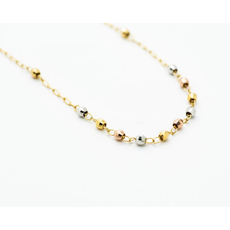 Jewelry Couture Exclusives Beaded Cross Tri-tone 14k Gold Necklace