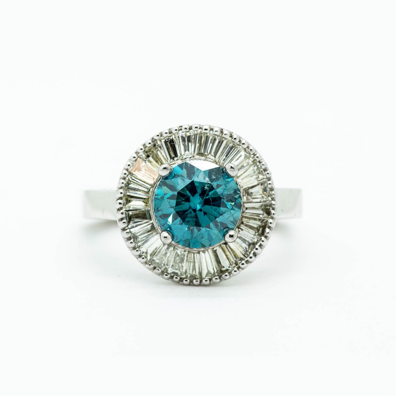 DECOÂge Teal Diamond Statement Engagement Ring