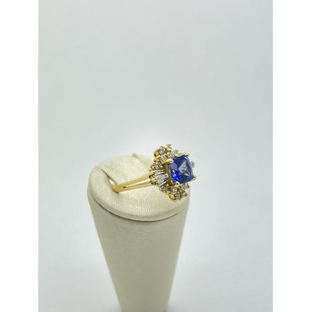 Tanzanite and Diamond Gypsy Ring