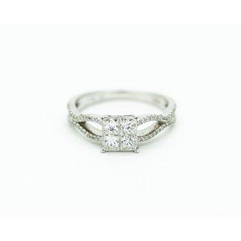 18k Princess Cut Diamond Cluster Engagement